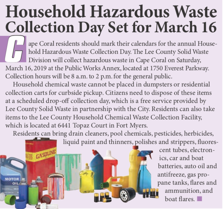 Hazardous Waste Collection Day March 16